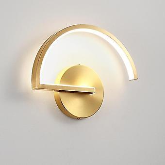Lámpara de pared semicircular led nordic moderno accesorio de iluminación de cobre para la sala de estar espejo luces de pared