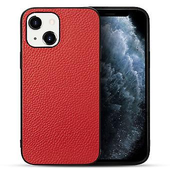 For iPhone 13 miniveske ekte skinn holdbart slank passform beskyttende deksel rød