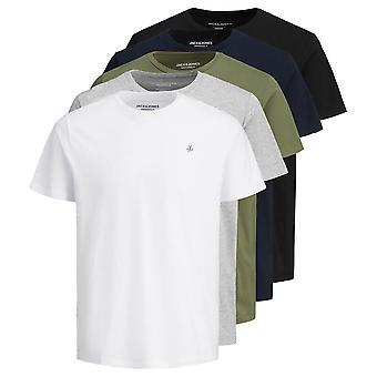 Jack & Jones Mens 2021 Originals Crew Neck Lyhythihainen 5 Pakkaus T-paita