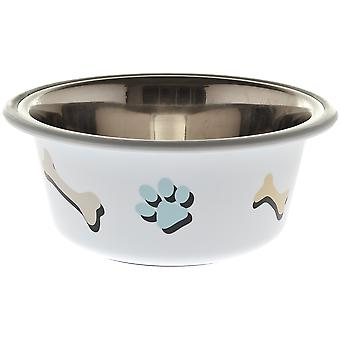 Ferribiella White Bowl with Tracks and Bones (Dogs , Bowls, Feeders & Water Dispensers)