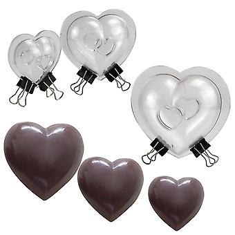 Baking cookie sheets 3pcs 3 type size 3d heart chocolate mold for diy cake decoration polycarbonate chocolate mold