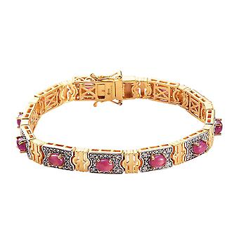 "Afrikanische Rubin, kambodschanischen Zirkon Armband 14 k Gold und Platin vergoldet Silber 7,5 """