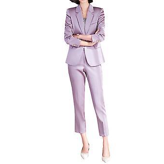 Homemiyn Mujer De dos piezas Mono-pecho Color Sólido Casual Business Suit (abrigo + pantalones)