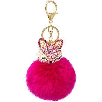 Plush Ball Key Chain Fox Head Rhinestone Key Chain Pink Girl Ladies Pendant