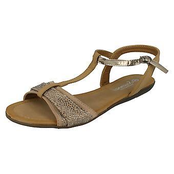 Womens Savannah t-bøylen Beaded bue Vamp sandaler
