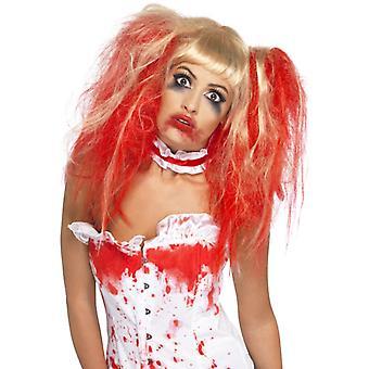 Halloween sykepleier parykk røde horror blod
