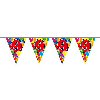 Pennant chain 10 m number 9 years birthday decoration party Garland