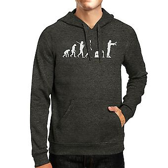 Evolution Zombie Hoodie Dark Grey Pullover Halloween Hoody Fleece