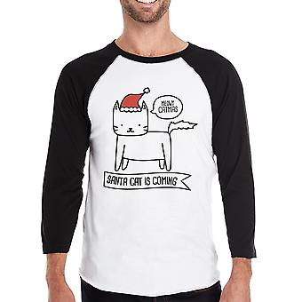 Meowy Catmas Santa Cat Is Coming Funny Christmas Gift Shirt For Men