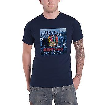 Beatles T Shirt Sgt Pepper albumet täcka blå nyans officiella Mens nya Navy