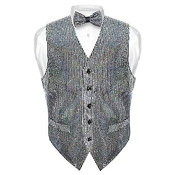 Men's SEQUIN Design Dress Vest & Bow Tie SILVER BOWTie Set for Suit Tux