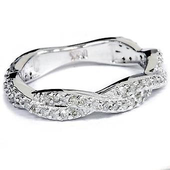 .40CT Natural Diamond Infinity Ring 14K White Gold Size 5