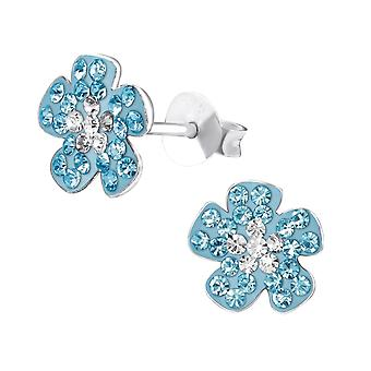 Flower - 925 Sterling Silver Crystal Ear Studs - W30945x