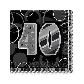 Födelsedag Glitz svart & Silver 40-årsdag - lunch servetter