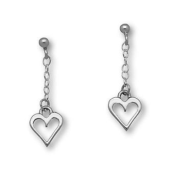 Sterling Silver Traditional Love Heart Shaped Design Pair of Earrings - E89