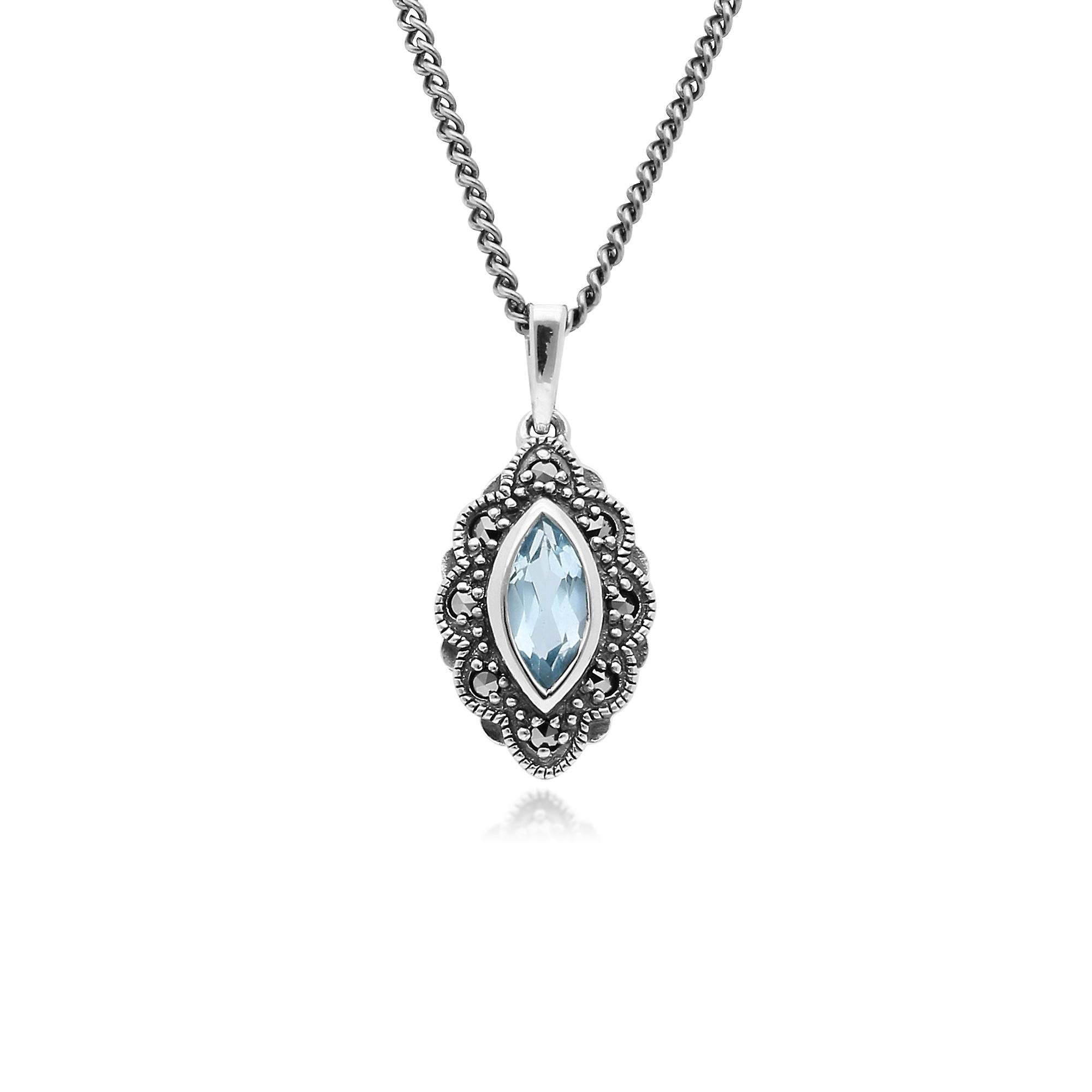 Gemondo Sterling Silver Blue Topaz & Marcasite Art Nouveau 45cm Necklace