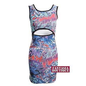 Nieuwe dames mouwloos Graffiti afdrukken Mid uitgesneden vrouwen Bodycon jurk