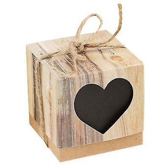 TRIXES; Pacote de 25 caixas de festa favor coração negro - efeito rústico de madeira marrom com fio fita para decoração do casamento