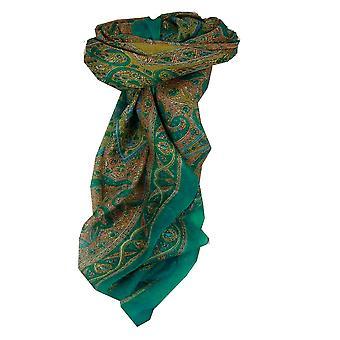 Amoreira seda tradicional lenço quadrado Chail Aquamarine por Pashmina & seda