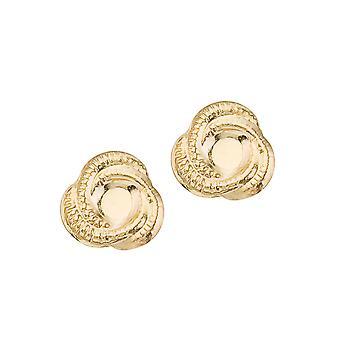 LXR 14K Yellow Gold Baby Knot Screw Closure Earrings