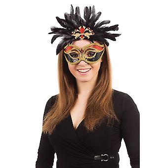 Carnevale. Rosso/nero/oro + piume su montatura di occhiali