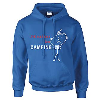 Mäns jag skulle hellre vara Camping Hoodie Royal blå Hoody