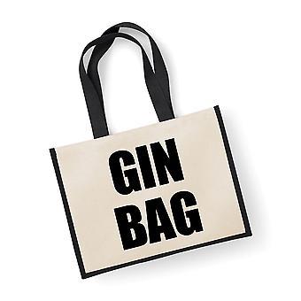 Große schwarze Tasche Gin Jutesack