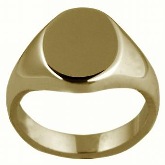 18ct Gold 13x10mm solid plain oval Signet Ring Size W