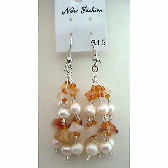 Carnelian Stone Chip Beads Freshwater Pearl w/ Glass Beads Earrings