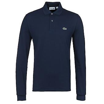 Lacoste L1312 marine Classic Fit à manches longues Pique Polo Shirt