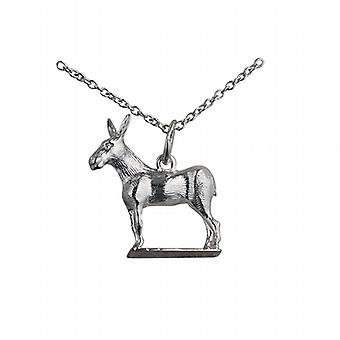 Silver 19x18mm Donkey Pendant with a rolo Chain 24 inches