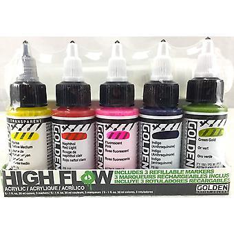 Golden High Flow Acrylic Paint Marker Set 5 x 30ml