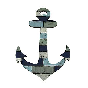 Blue and White Distressed Wood Nautical Anchor Wall Hanging