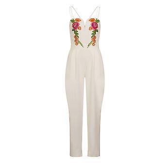 映画女子女性/レディースフィレンツェ刺繍ジャンプスーツ
