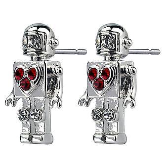 Retro robot med hjärta stud örhängen