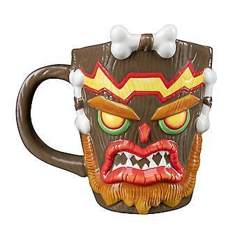 Crash Bandicoot 3D Cup Uka Uka marrone, dipinto a mano, realizzato in 100% ceramica, capacità circa 315 ml..