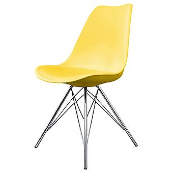 Fusion Living Eiffel Inspired Yellow Plastic Dining Chair With Chrome Metal Legs