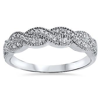 1 / 2CT diamant Infinity vielsesring 14K hvidguld