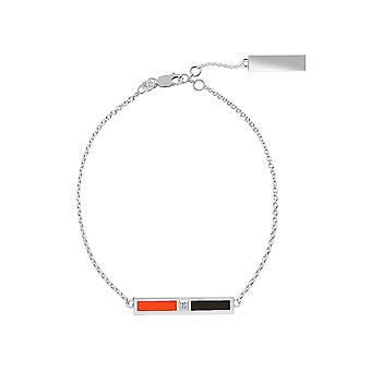 Philadelphia Flyers Sterling Silver Diamond Chain Bracelet In Orange and Black
