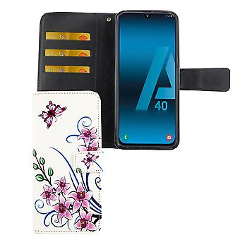 Samsung Galaxy A40 Case Phone Case Protective Cover Flip Case met Card Tray Lotus Flower