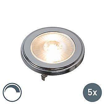 QAZQA Set von 5 G53 AR111 LED 10W 800LM 3000K Dimmbar