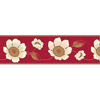 Fine Decor Carissa Red Floral Wallpaper Border White Gold Metallic Flowers