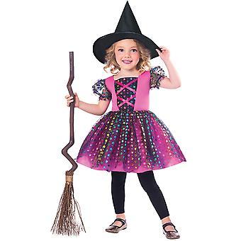 Childrens meisjes regenboog heks Halloween fancy dress kostuum