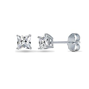 Jewelco London Sterling Silver CZ Square Princess Cut Solitaire Earrings - 3mm