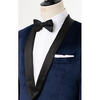 Dobell Mens Navy Blue Tuxedo Dinner Jacket Slim Fit Velvet Contrast Shawl Lapel