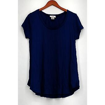 OSO Casuals Top Short Sleeve Lace Up Back Top Blue Womens A408363