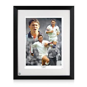 Rory Underwood a signé la photo de rugby de l'Angleterre. Encadré