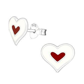 Καρδιά - 925 Ασημένια Πολύχρωμα Στηρίγματα Αυτιών - W18238x