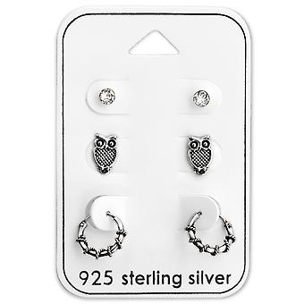 Owl Ear Stud And Bali Hoop - 925 Sterling Silver Sets - W28487x