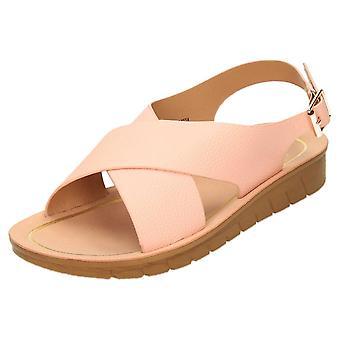 Dr Keller Pink Slingback Wedge Open Toe Crossover Sandals
